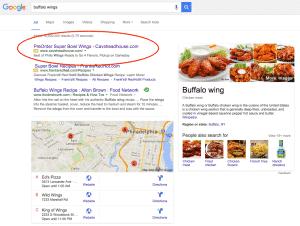 buffalo wings search google adwords