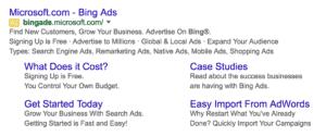 Bing ad sitelinks on Google