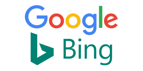 Google and Bing logos