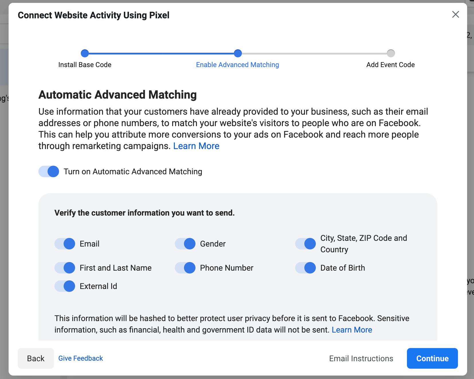 facebook pixel advanced matching