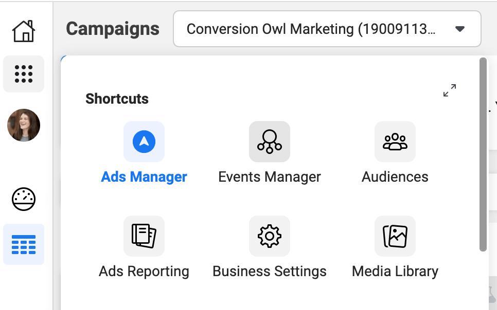 facebook ads menu