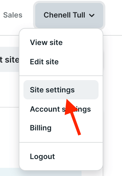podia site settings menu